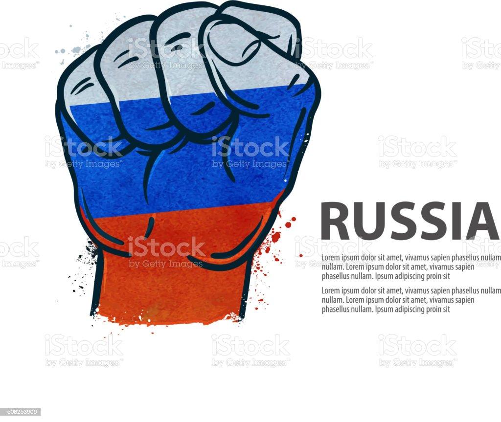 fist.  flag Russia, Moscow. vector illustration vector art illustration