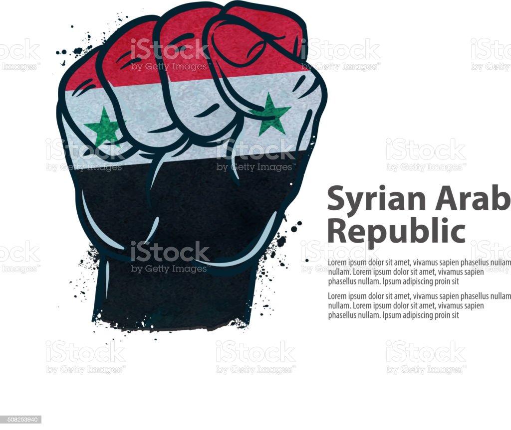 fist.  flag Syria. vector illustration vector art illustration