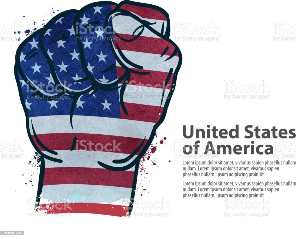 fist.  flag USA, United States of America. vector illustration vector art illustration