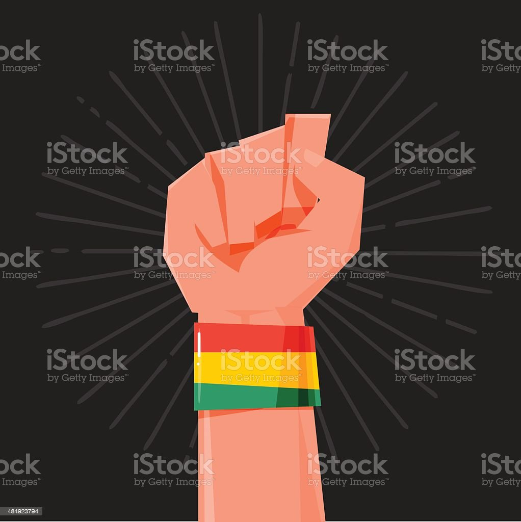 fist hand held high with Rasta style Bracelets. wristband. finan vector art illustration