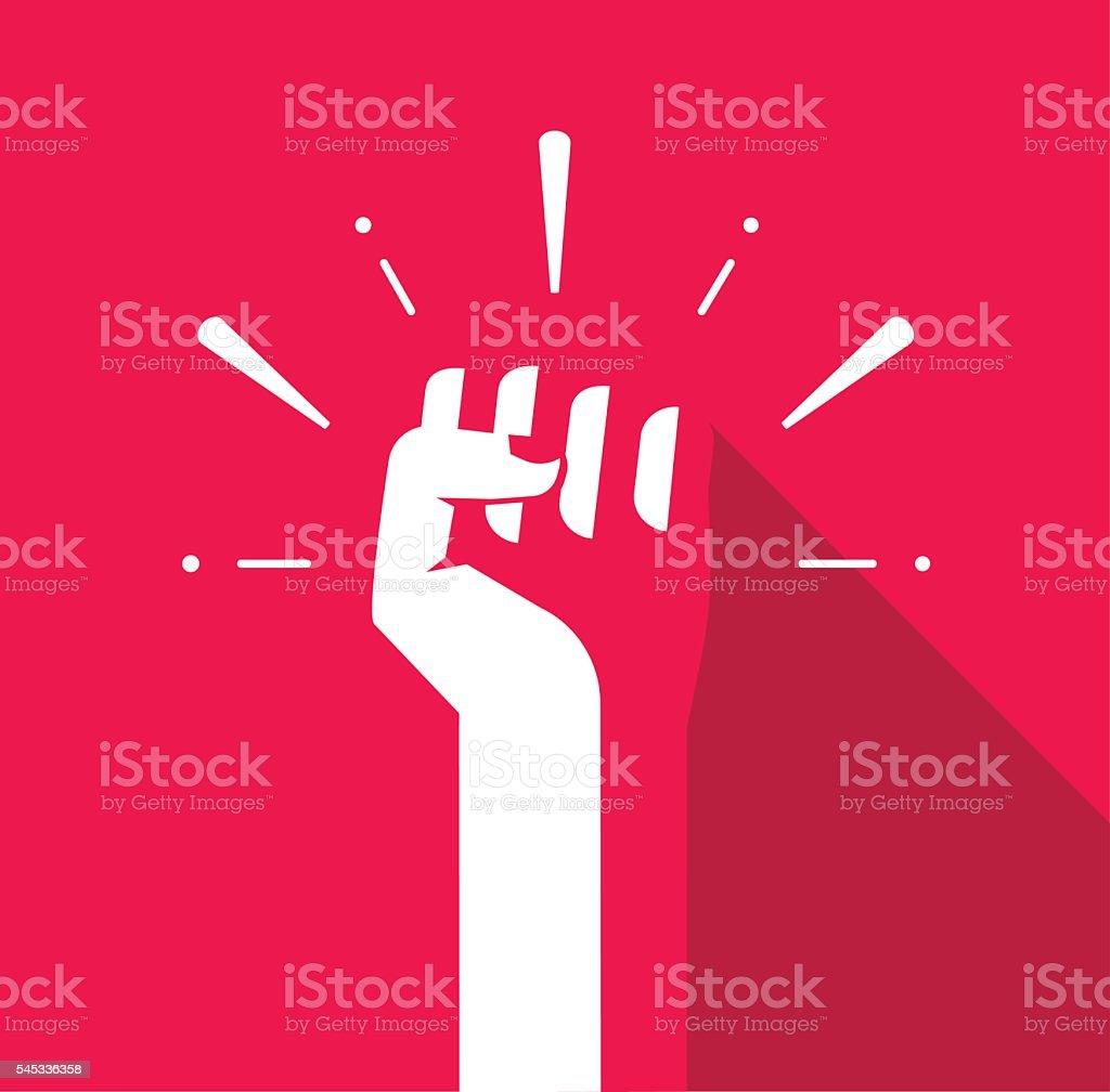 Fist hand up vector icon, revolution logo, freedom symbol, soviet vector art illustration
