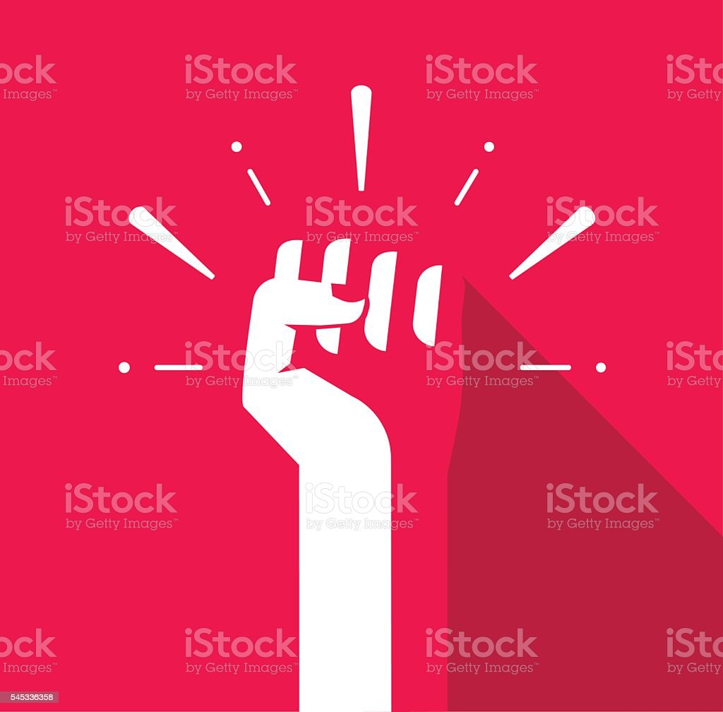 Fist hand up vector icon, revolution logo, freedom symbol, soviet vector art illustration