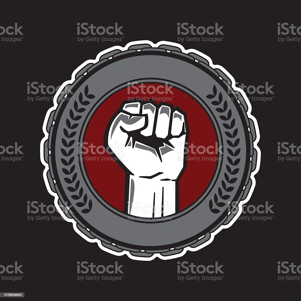 fist hand with chain vector art illustration
