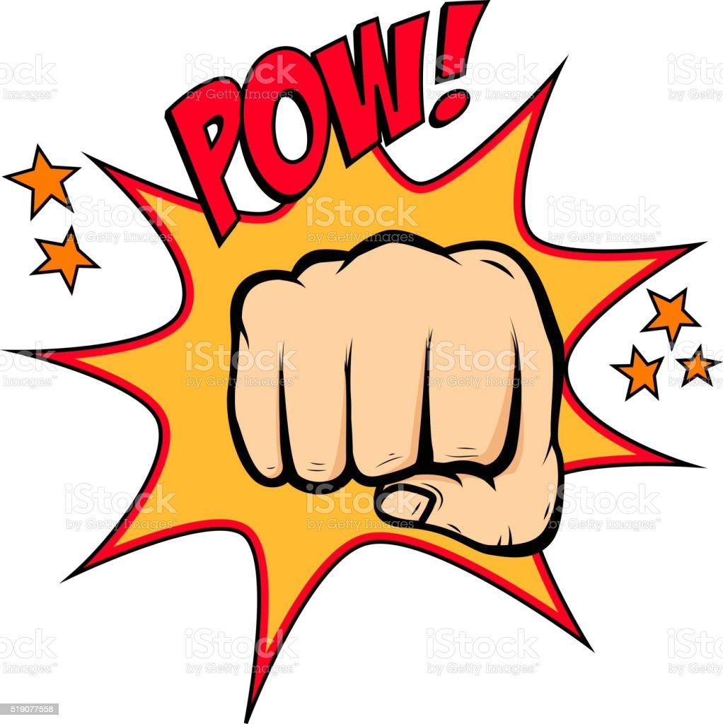 Fist hitting  in pop art style. Fist punch. vector art illustration