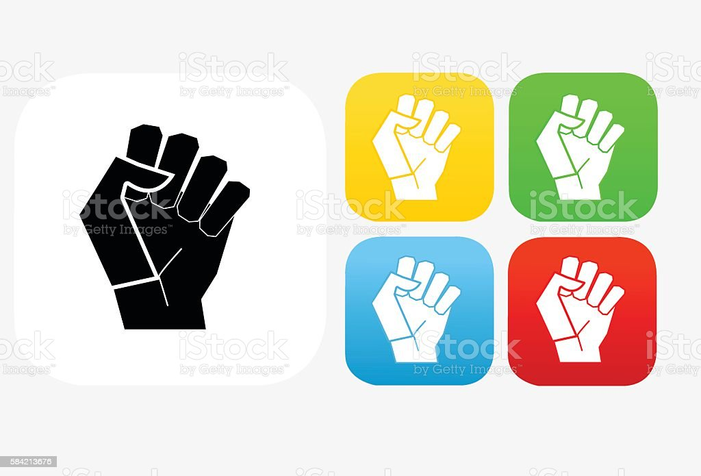 Fist Icon Flat Graphic Design vector art illustration