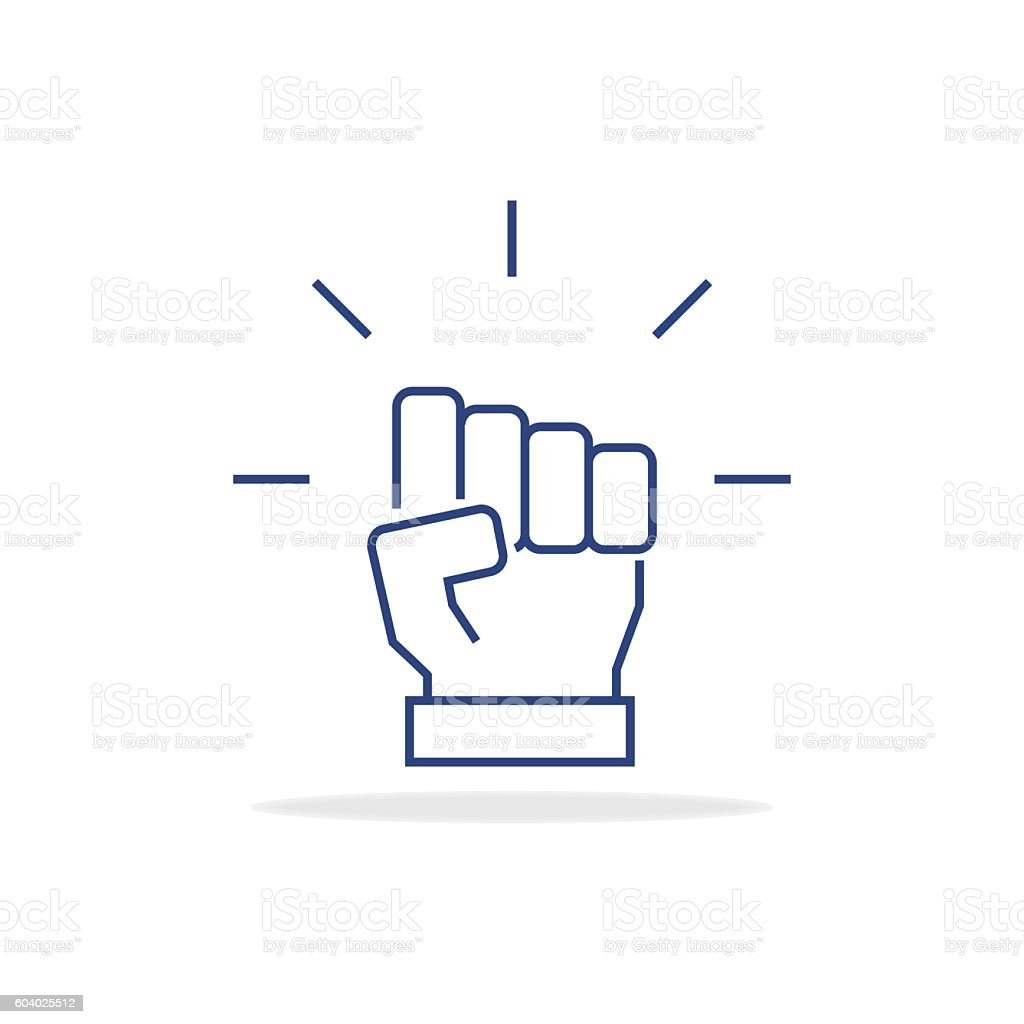 Fist icon in thin line style. Vector symbol. Vector illustration. vector art illustration