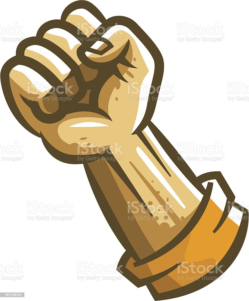 Fist of man is directed up royalty-free stock vector art