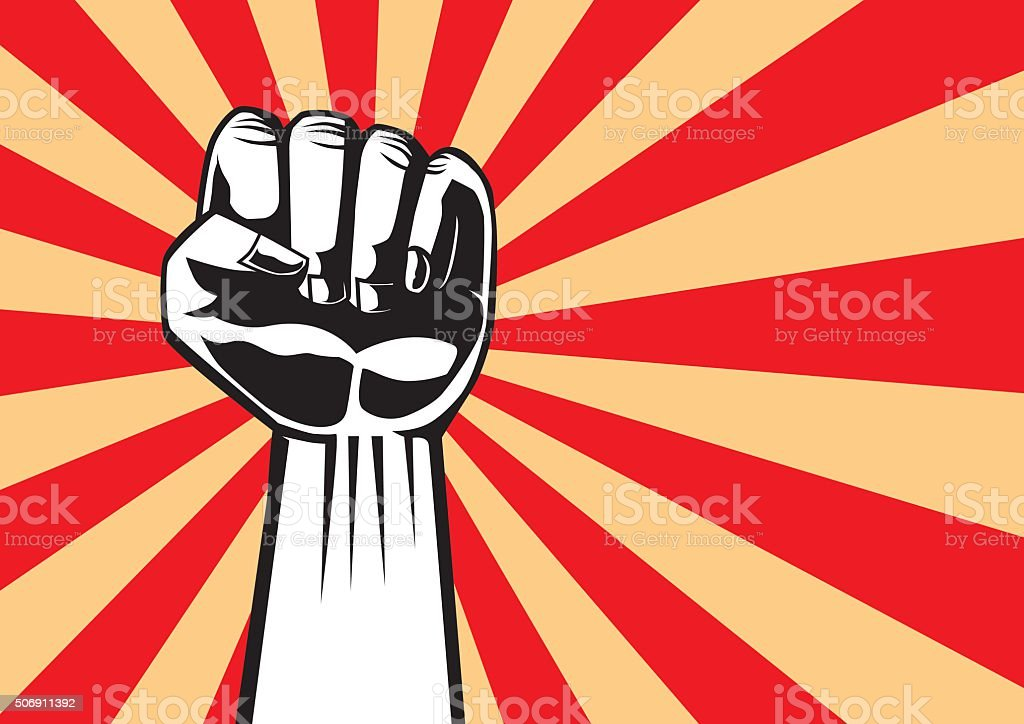 Fist of revolution vector art illustration