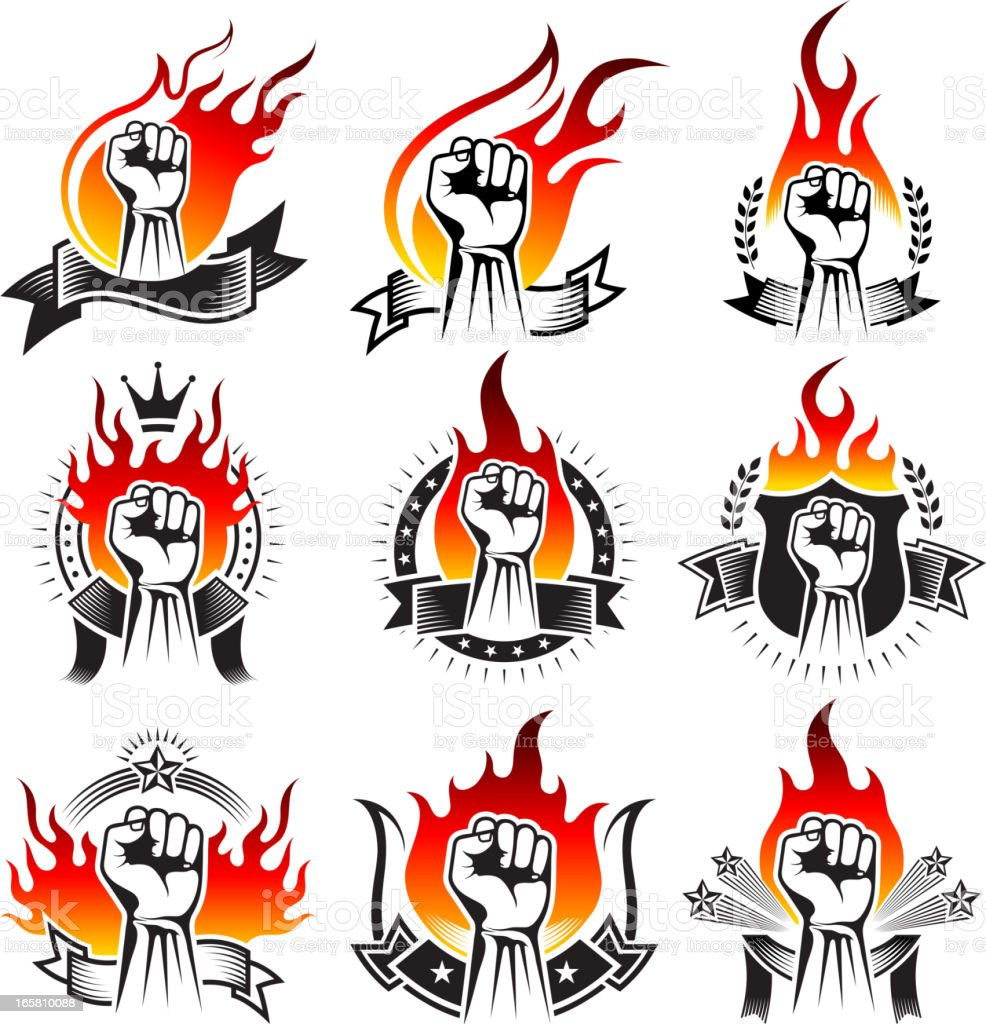 Fist on Black and White Badges with Fire royalty-free stock vector art