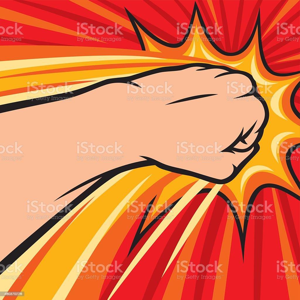 fist punching vector art illustration