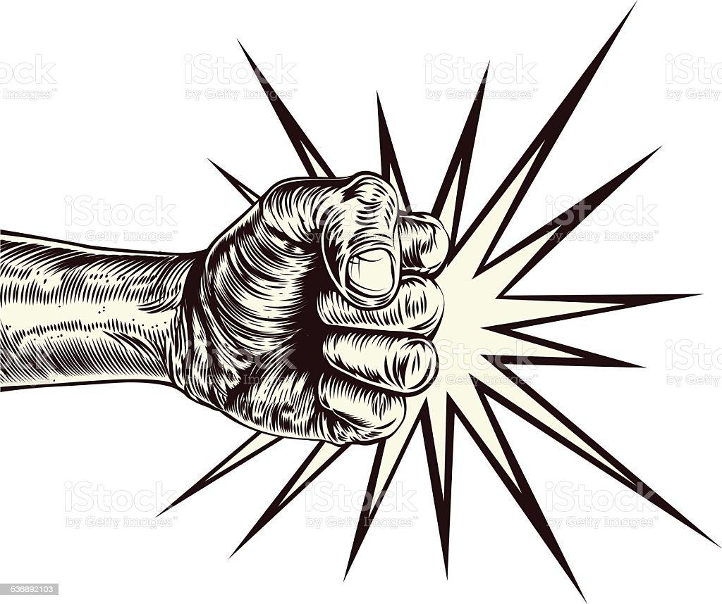 Fist punching wood cut vector art illustration