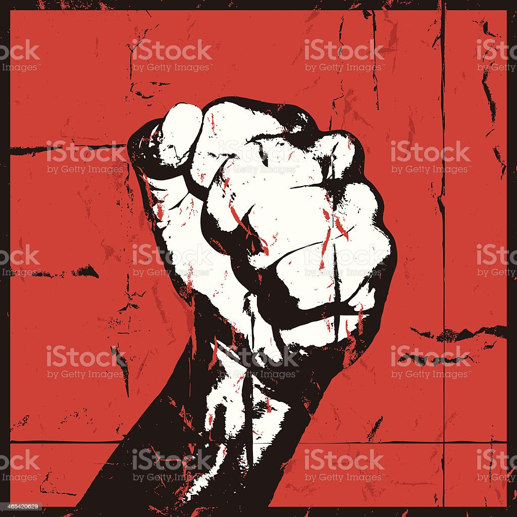Fist raised in anger vector art illustration