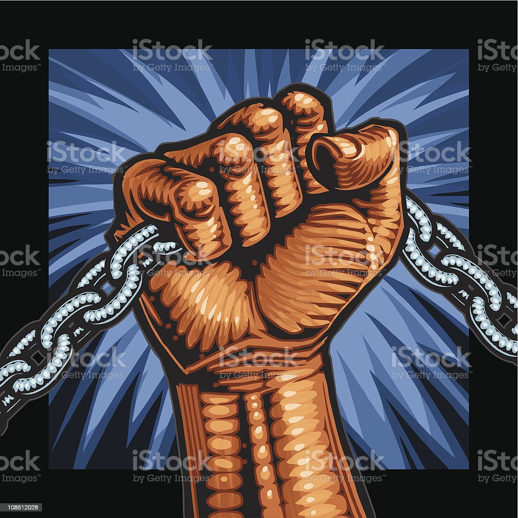 fist with chain royalty-free stock vector art