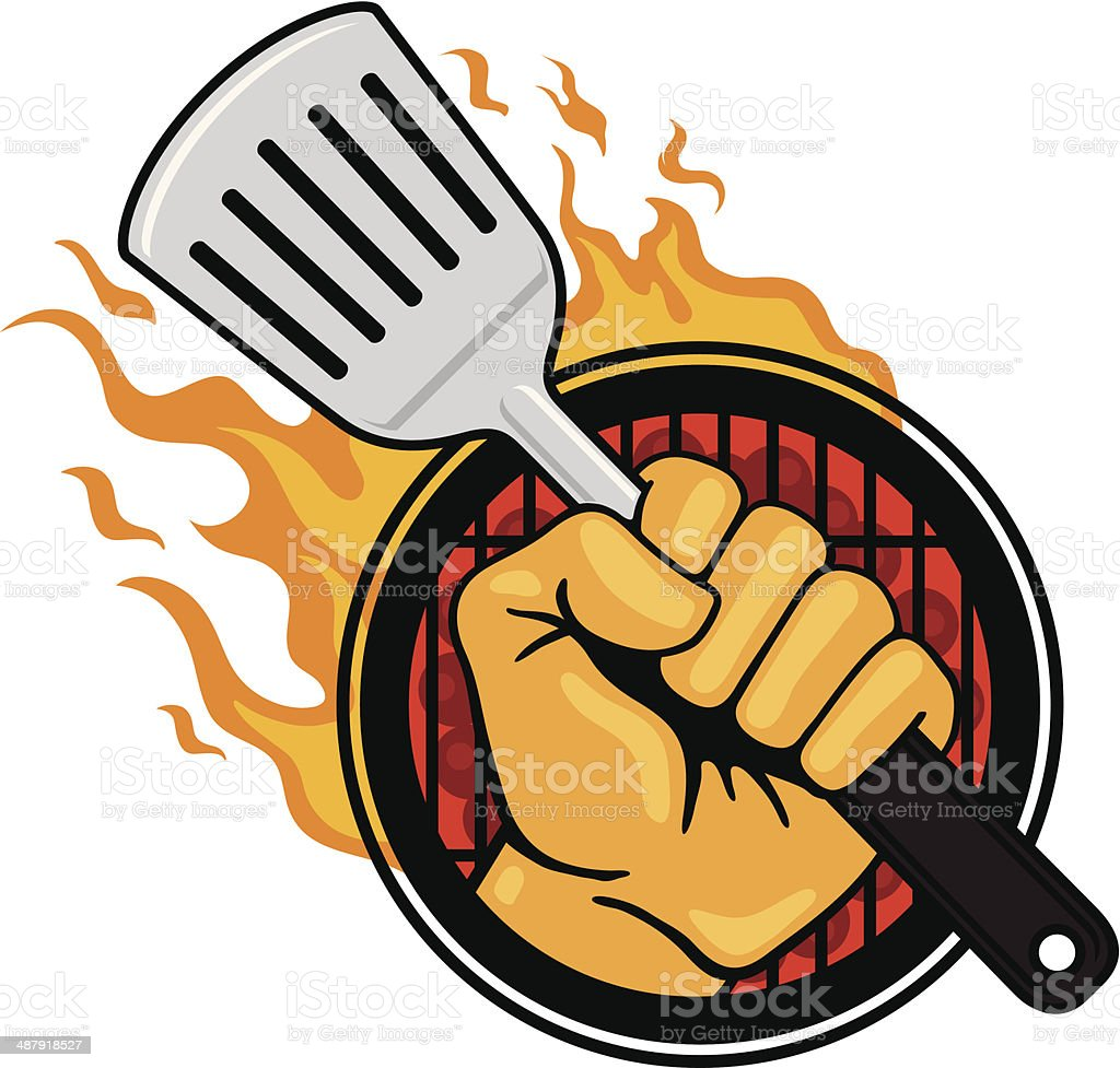 Fist with Flaming Spatula vector art illustration