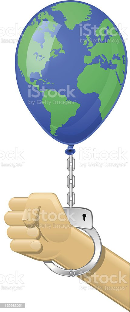 Fist with Handcuff Blue Earth Balloon vector art illustration