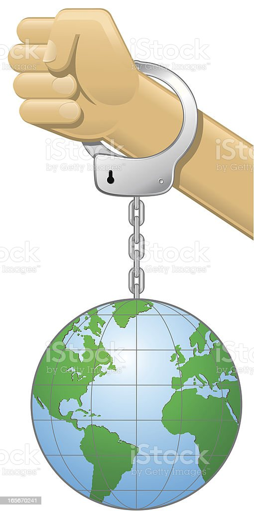 Fist with Handcuff Heavy Earth Balloon royalty-free stock vector art