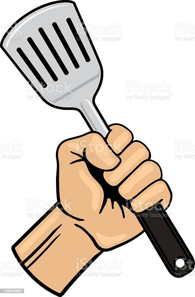 Fist with Spatula vector art illustration