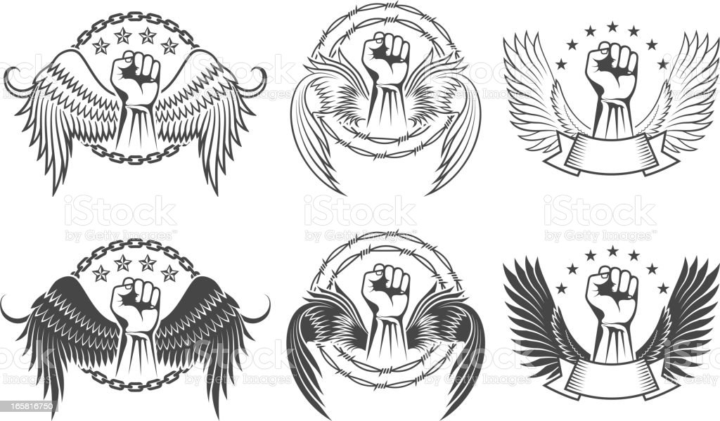 Fist with Wings on Black and White Badges royalty-free stock vector art