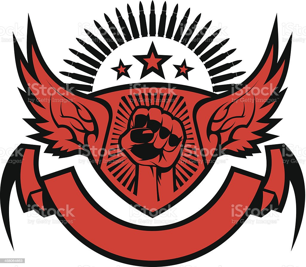 Fist with wings symbol royalty-free stock vector art