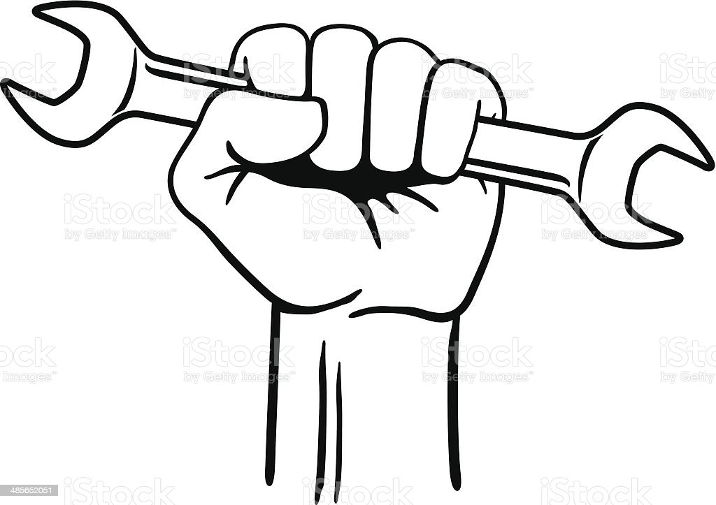 Fist with Wrench vector art illustration