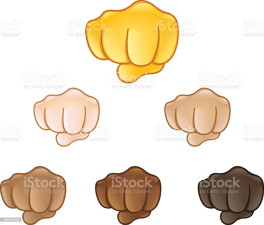 Fisted hand sign emoji vector art illustration