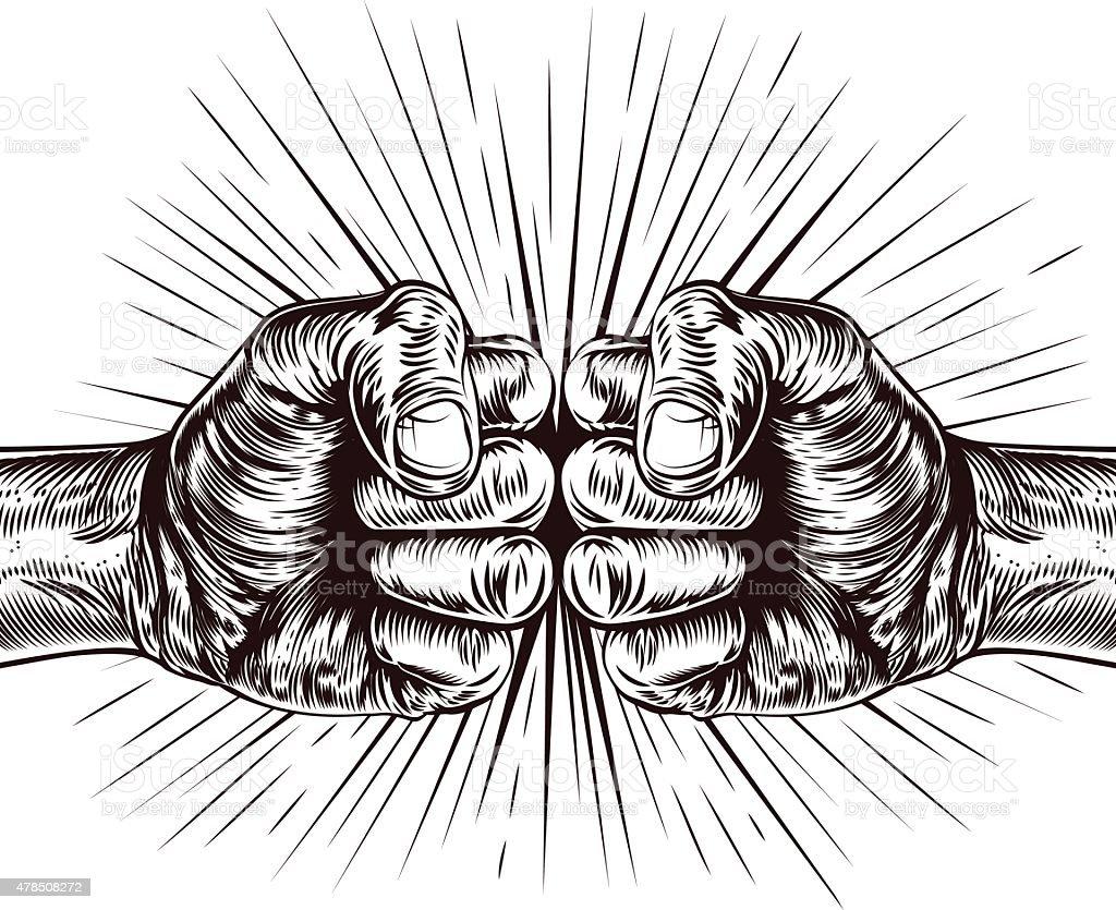 Fists punching vector art illustration