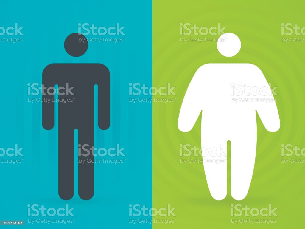Fit and Overweight People vector art illustration
