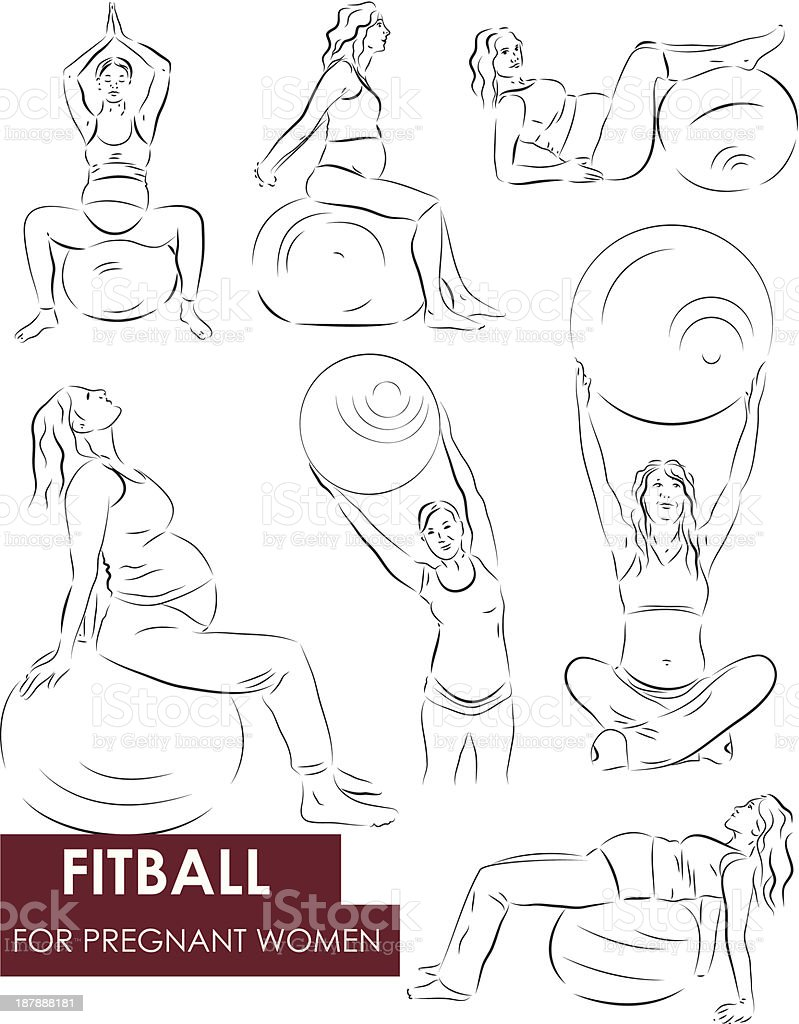 Fitball for pregnant royalty-free stock vector art
