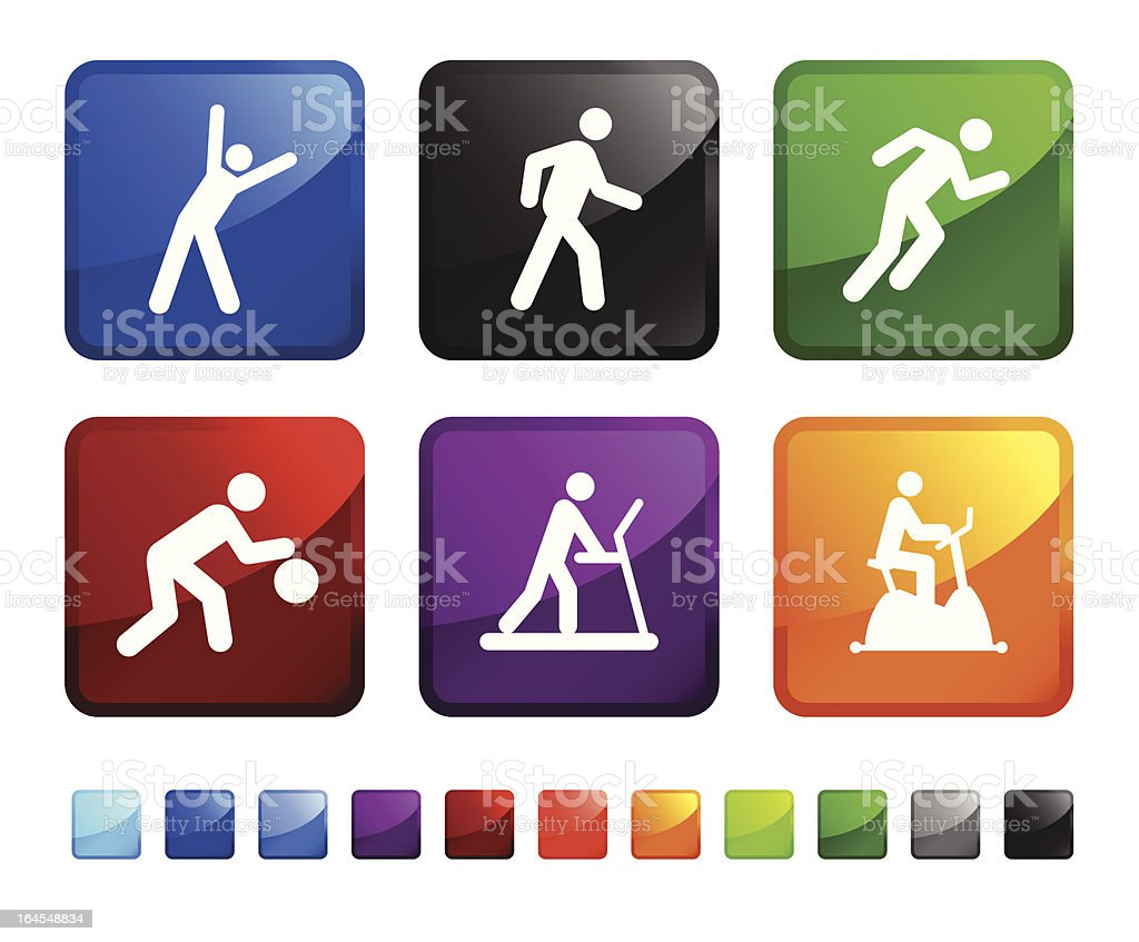 fitness and cardio training royalty free vector icon set stickers royalty-free stock vector art