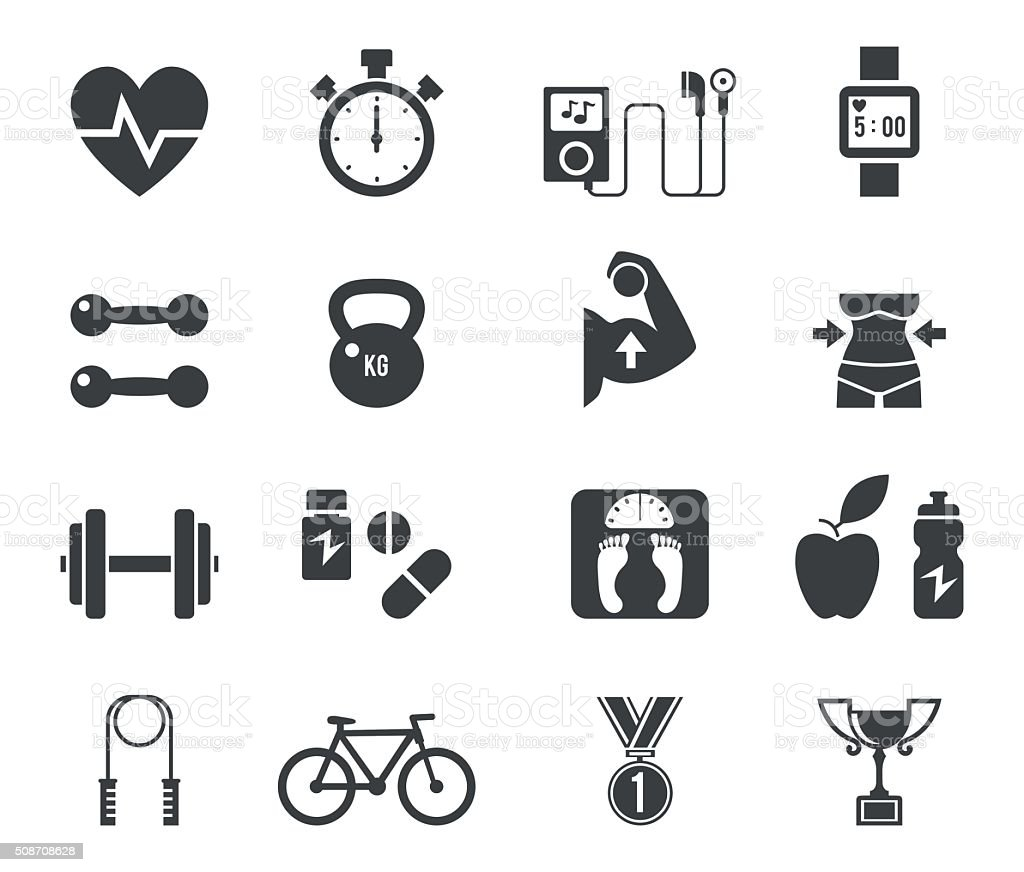 Fitness and diet icon set in black vector art illustration