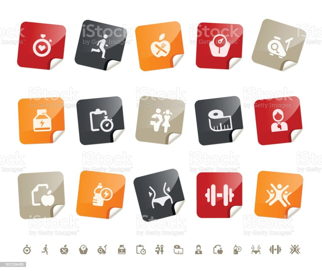 fitness and diet icons | sticky series royalty-free stock vector art