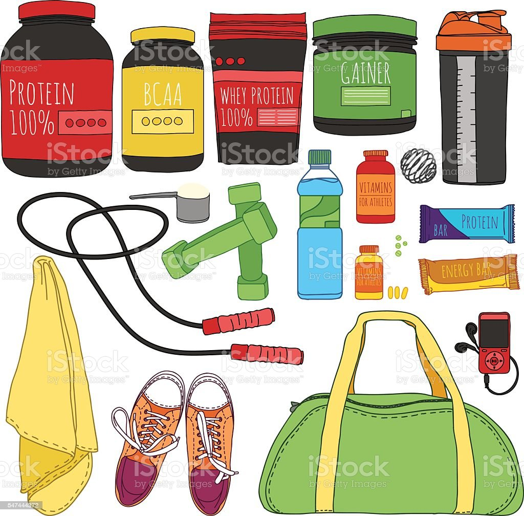 Fitness and diet set. Sports nutrition set. Bags for training. vector art illustration