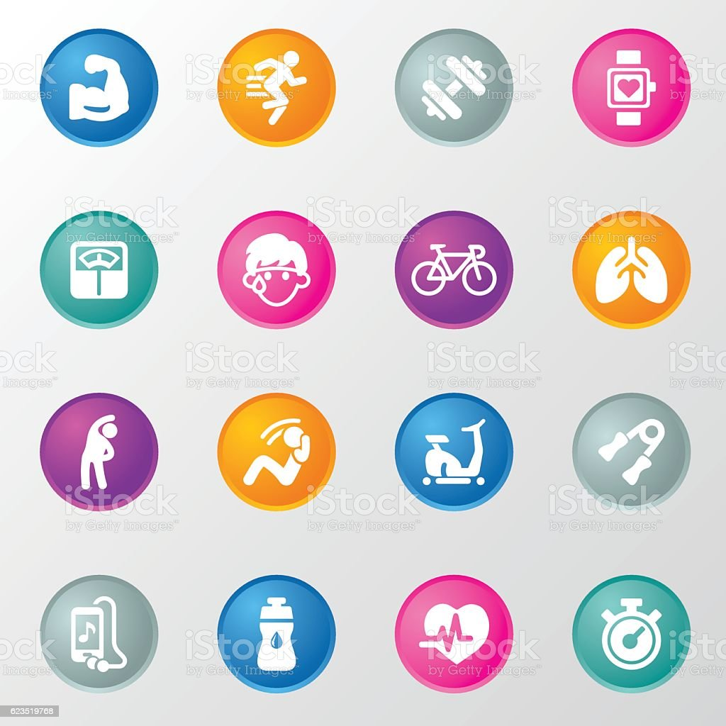 Fitness and Exercise Circle Color Icons vector art illustration