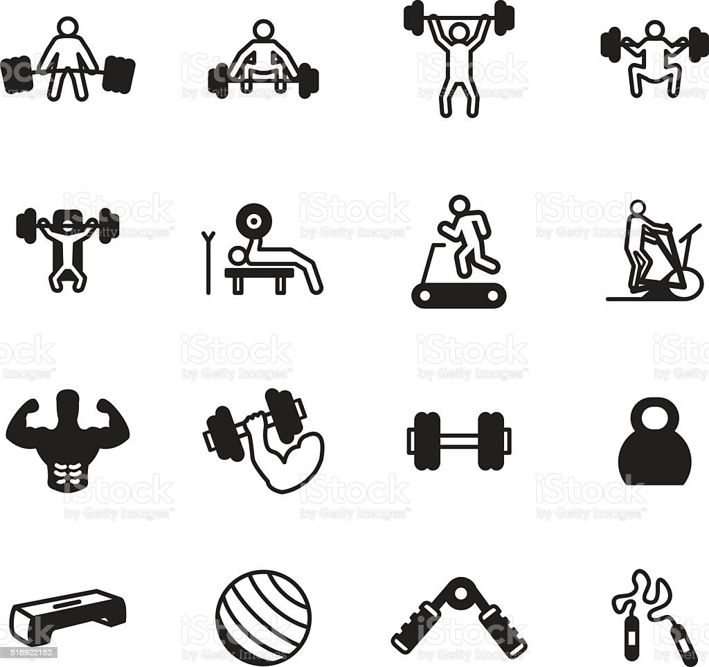 Fitness and exercise icon set. Vector illustration. vector art illustration