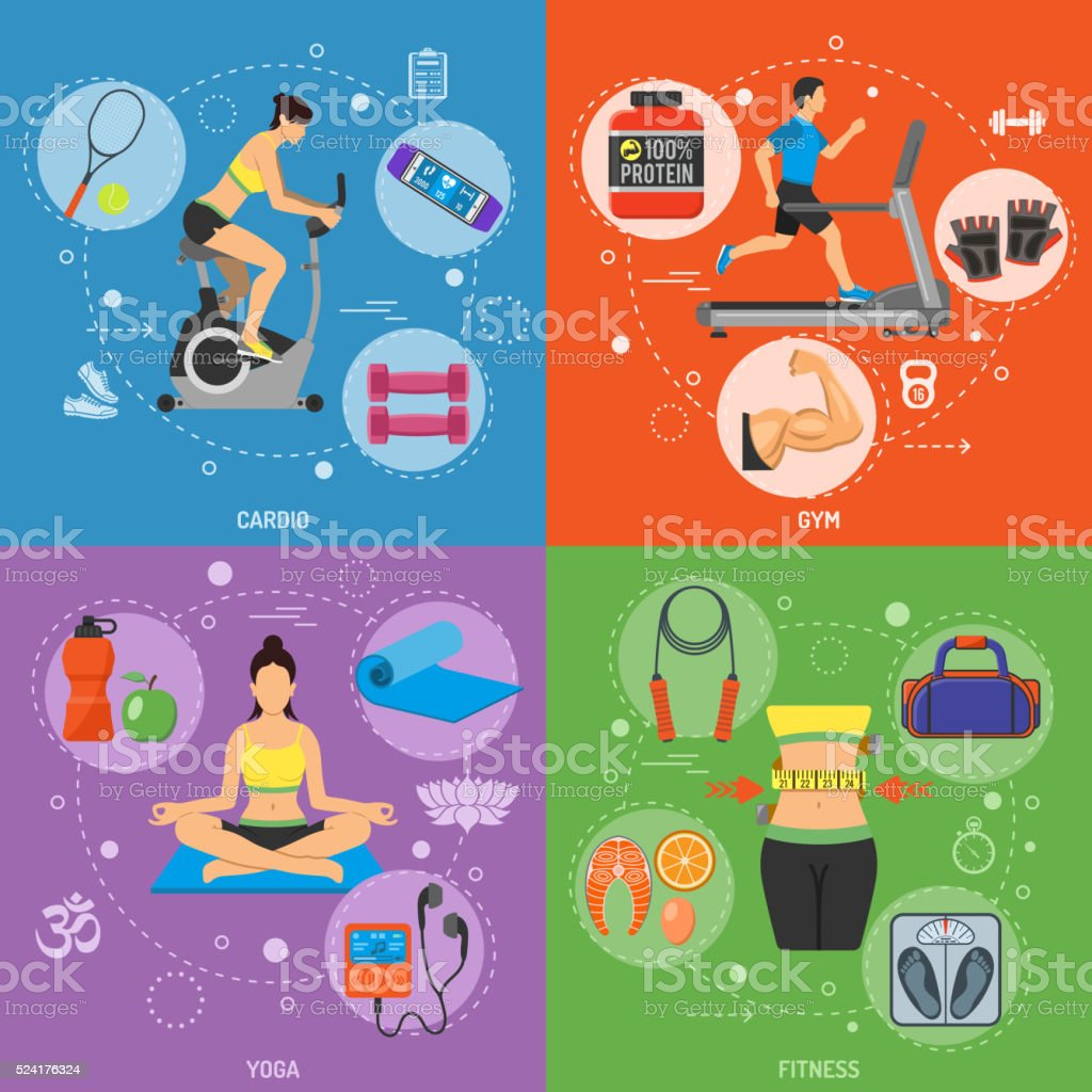 Fitness and Gym Banners vector art illustration