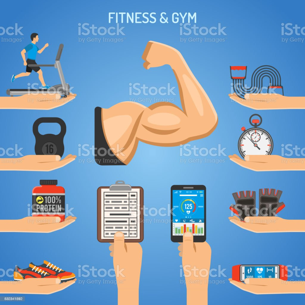 Fitness and Gym Concept vector art illustration