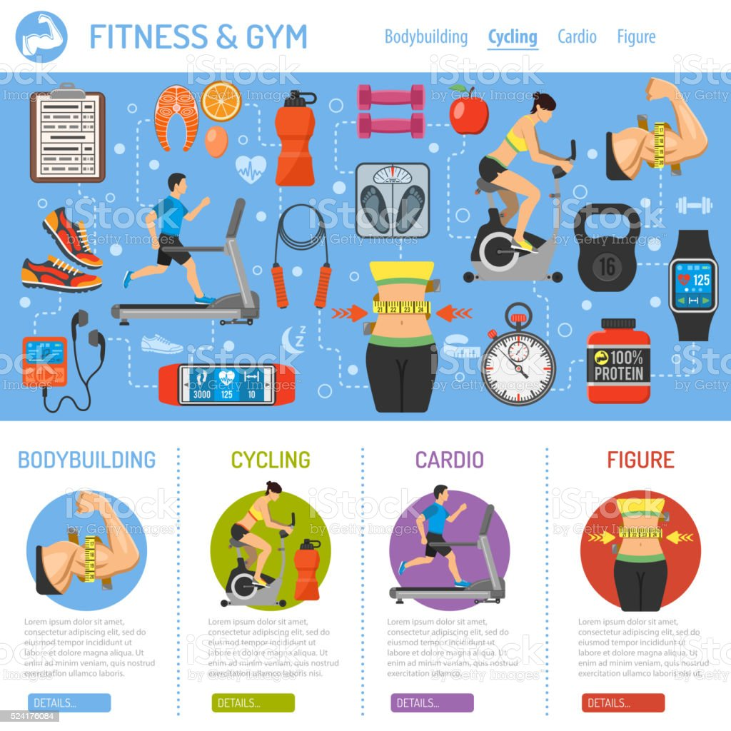 Fitness and Gym Infographics vector art illustration