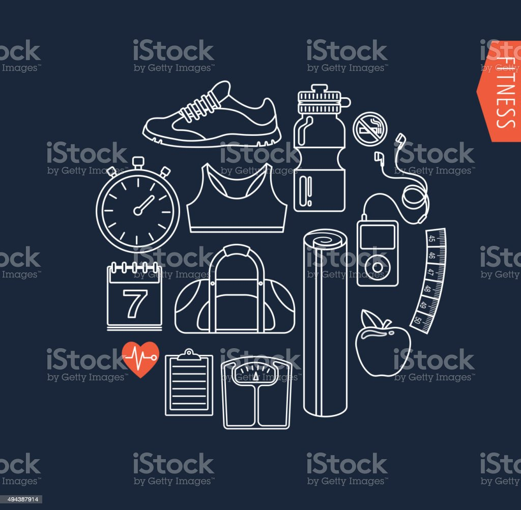 Fitness and gym line, flat icons vector art illustration
