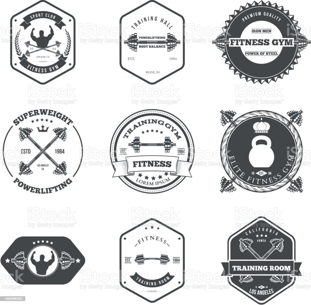 Fitness and Gym Themed Label Design Set Elements vector art illustration