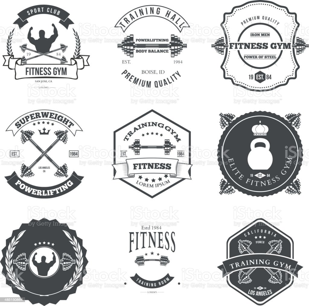 Fitness and Gym Themed Label Design Set Elements vector art illustration