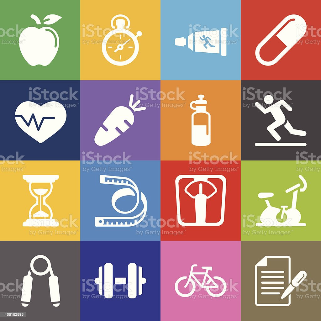 Fitness and Health Icons  and Color Background royalty-free stock vector art