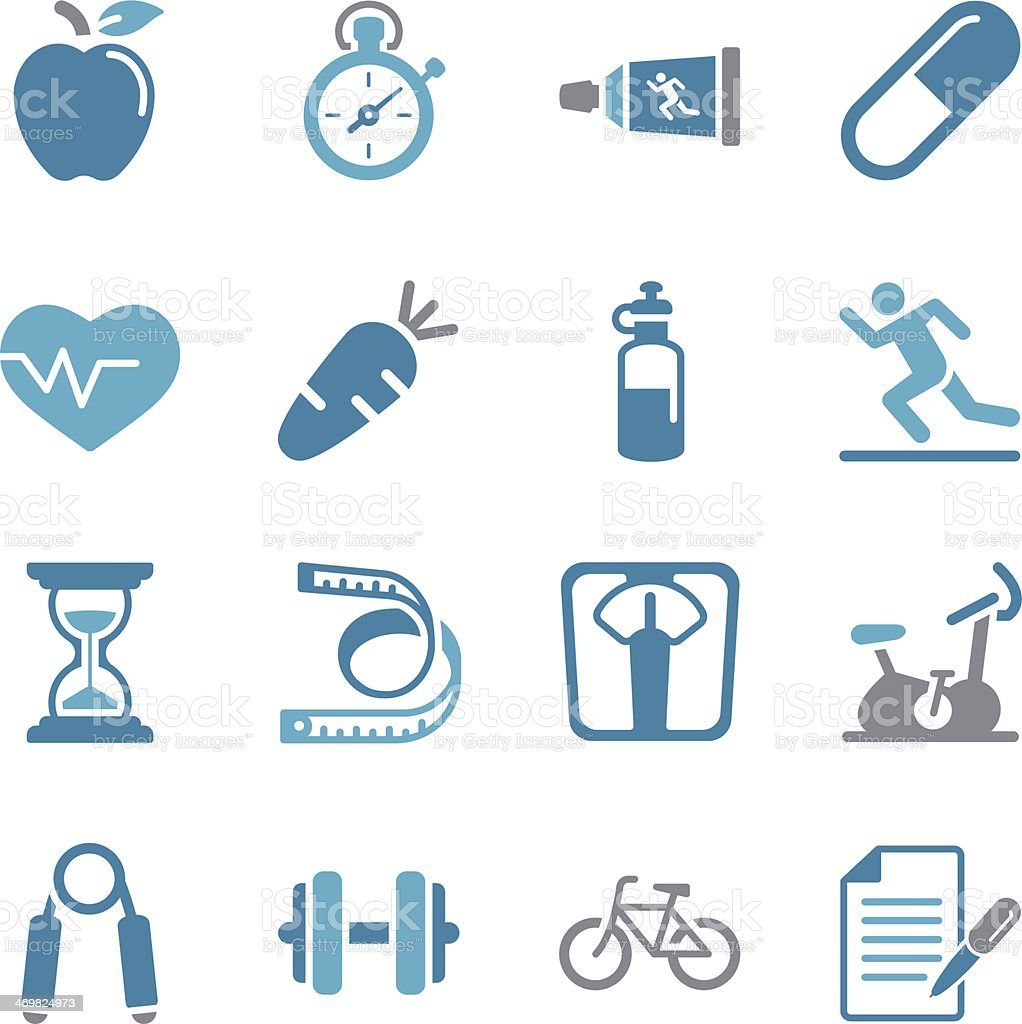 Fitness and Health Icons - Color vector art illustration