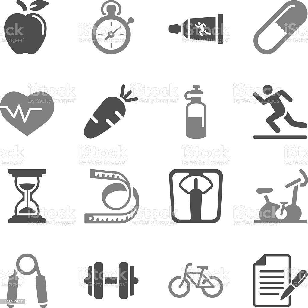 Fitness and Health Icons Gray Color vector art illustration