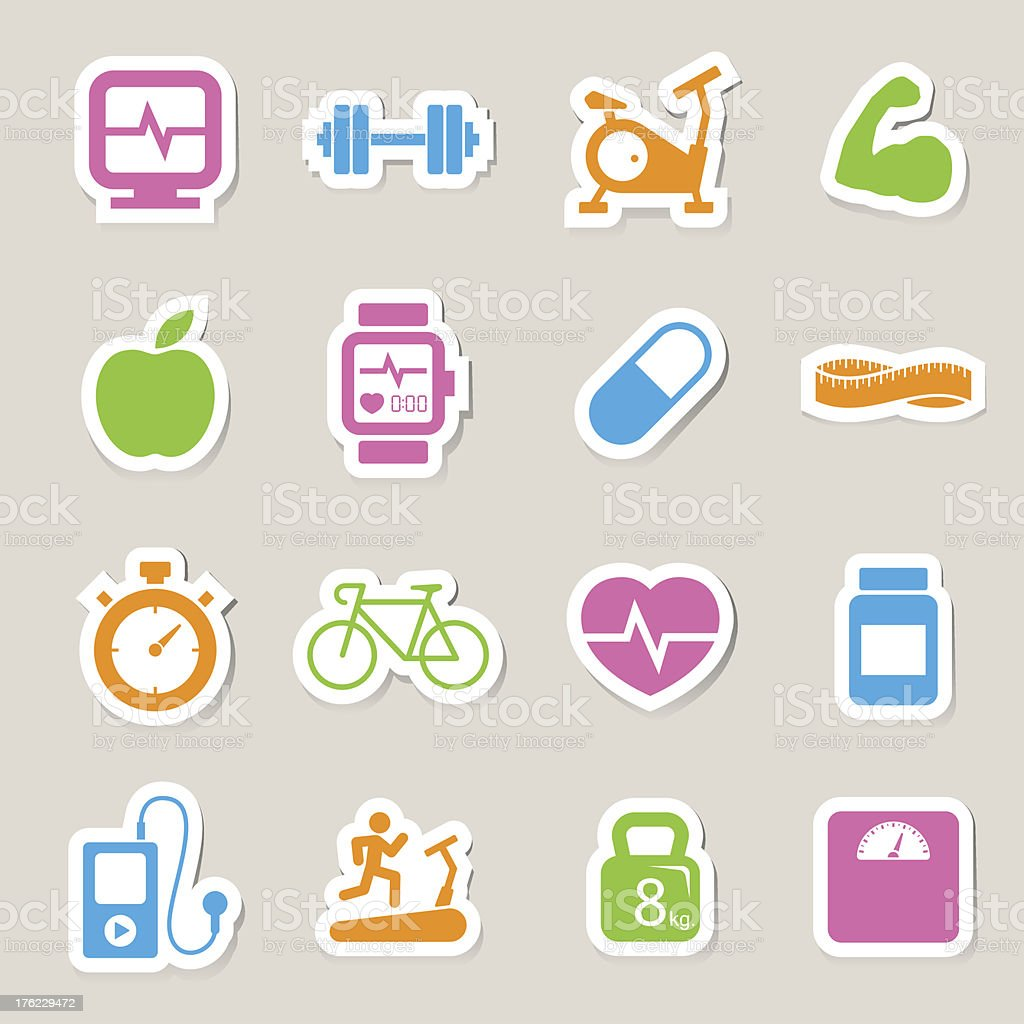 Fitness and Health icons royalty-free stock vector art