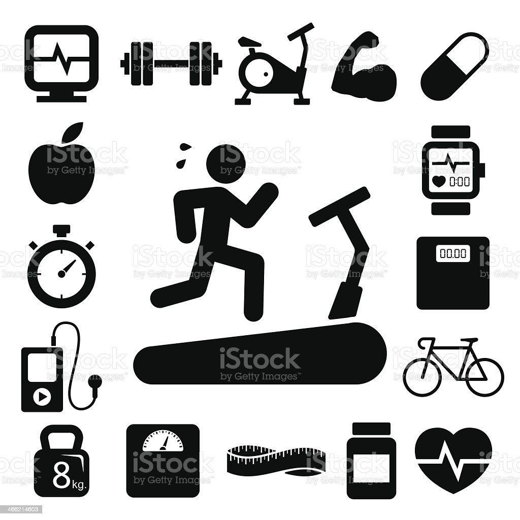 Fitness and Health icons. vector art illustration