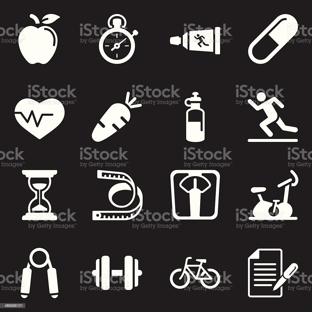 Fitness and Health Icons  | White Series vector art illustration
