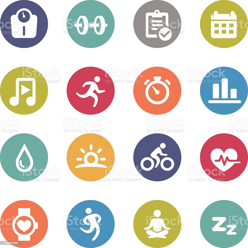 Fitness and Healthy Icons - Circle Series vector art illustration