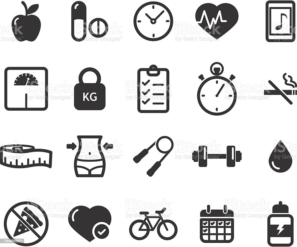 Fitness and healthy lifestyle icons vector art illustration