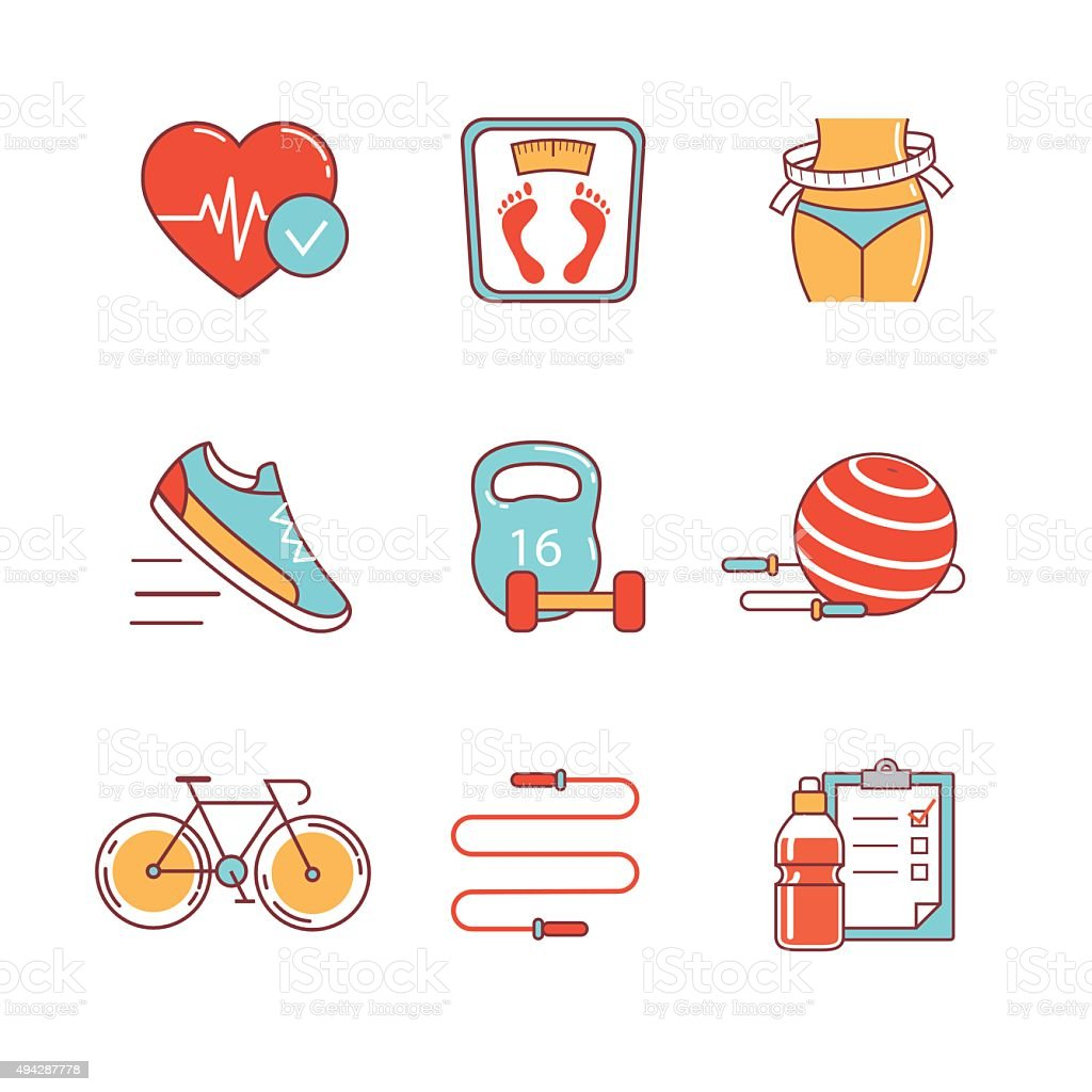 Fitness and healthy lifestyle thin line icons set vector art illustration