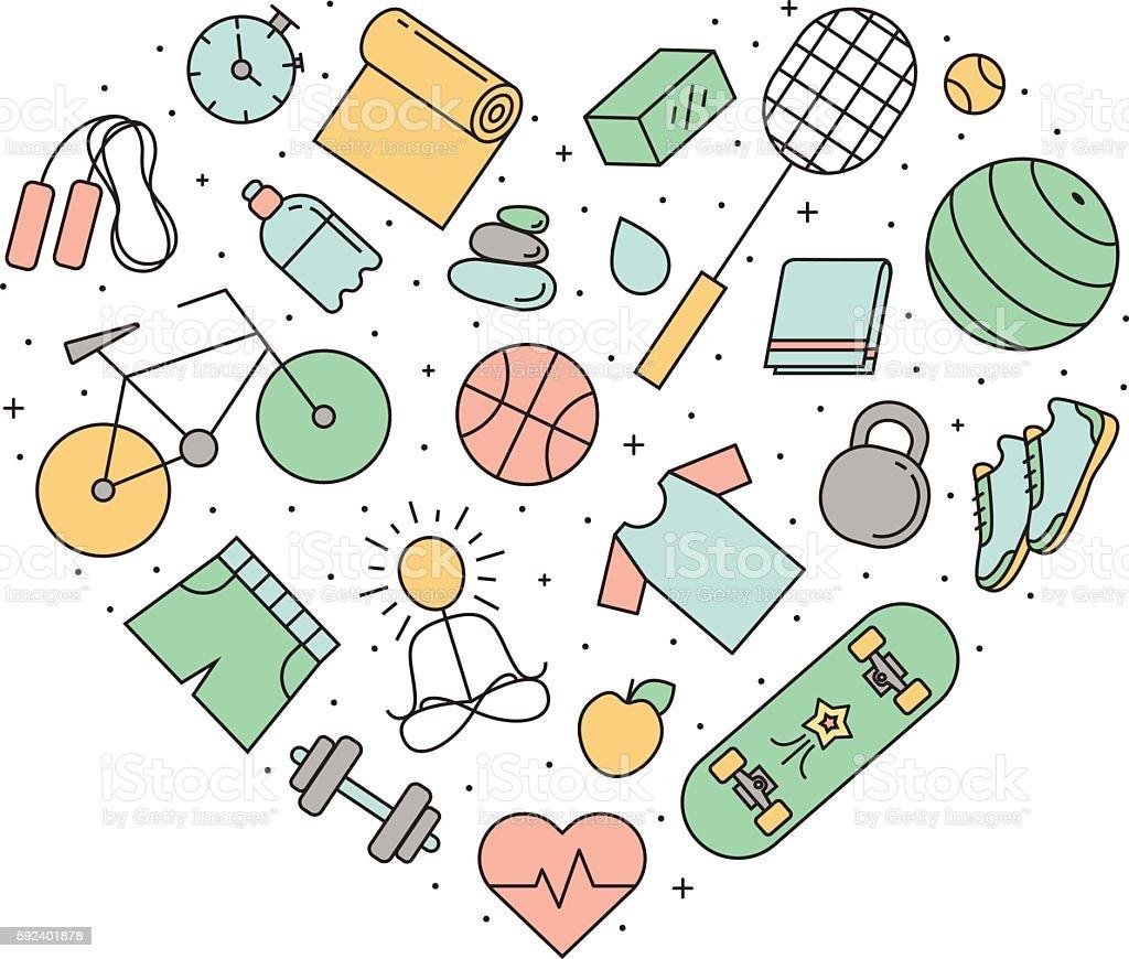 Fitness and sport heart outline illustration. Simple design vector art illustration